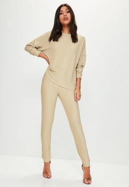 Gold Metallic Sweatshirt Pants Co Ord