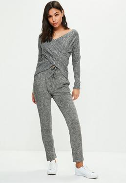 Pantalón de chándal de punto acanalado en gris