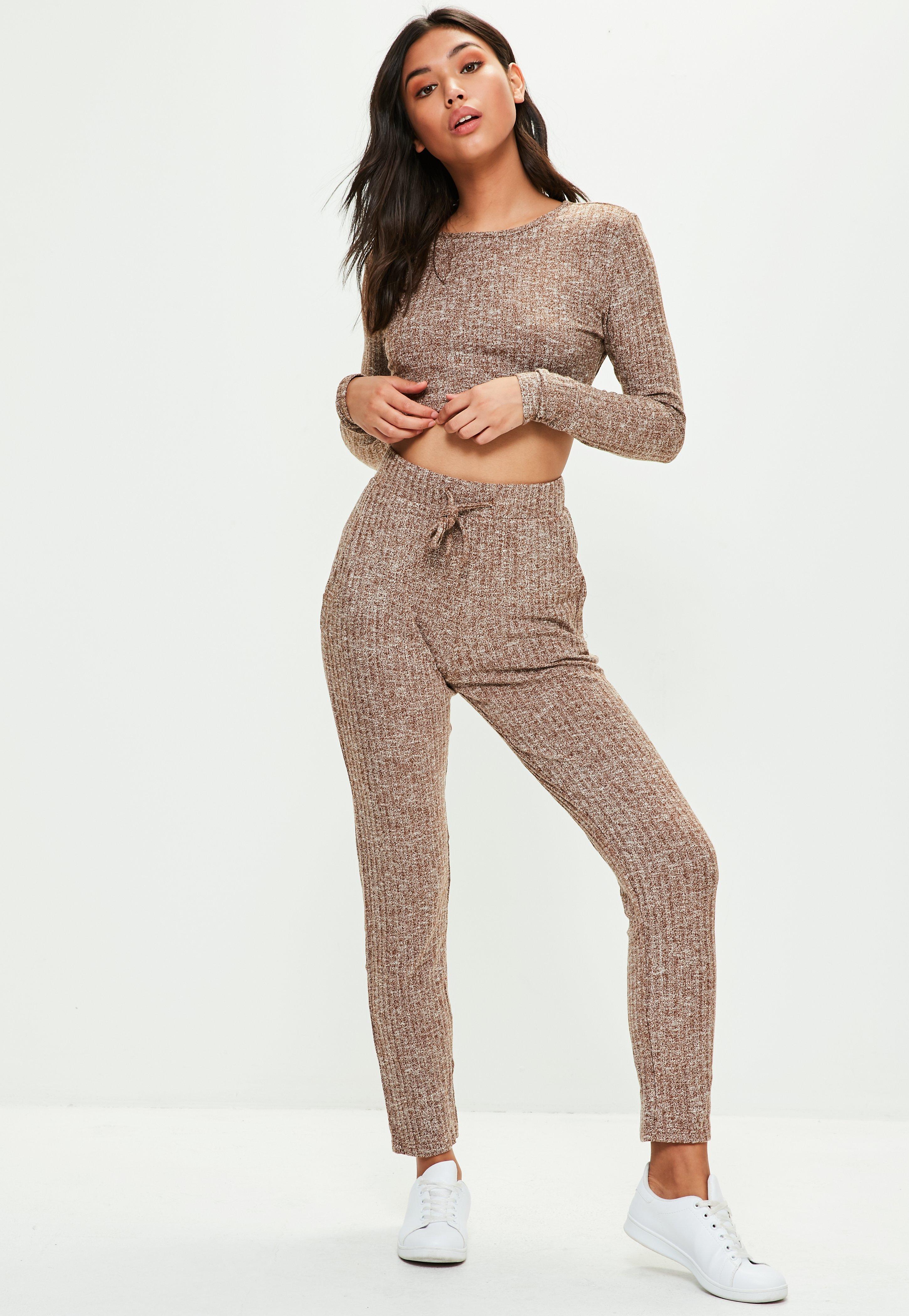 3f9407565c34a Prążkowane Prążkowane Spodnie Spodnie Spodnie Prążkowane Beżowe Beżowe  Missguided Missguided Beżowe B1FFvSH