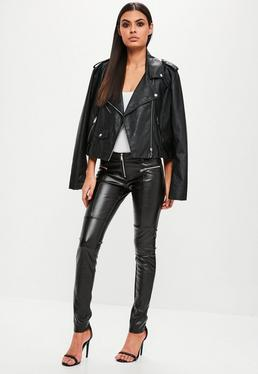 Black Zip Front Faux Leather Skinny Trousers