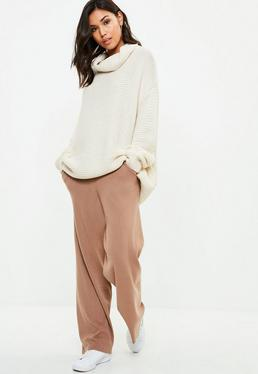 Brown Wide Leg Knitted Pants