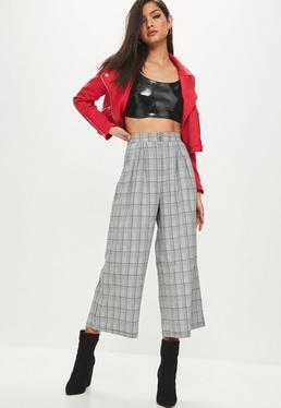 Gray Ring Pull Zip Front Plaid Pants