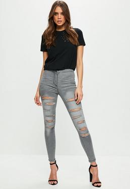 Grey Ripped High Waisted Denim Leggings
