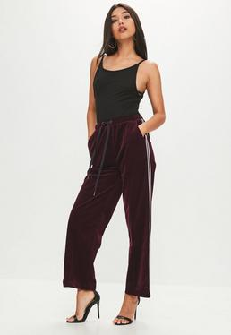 Wine Side Stripe Velour Wide Leg Trouser