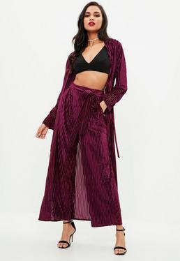 Purple Velvet Wide Leg Trousers