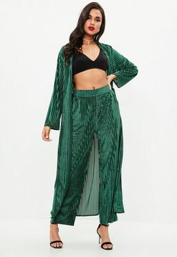 Pantalón de pierna ancha con canalé de terciopelo en verde