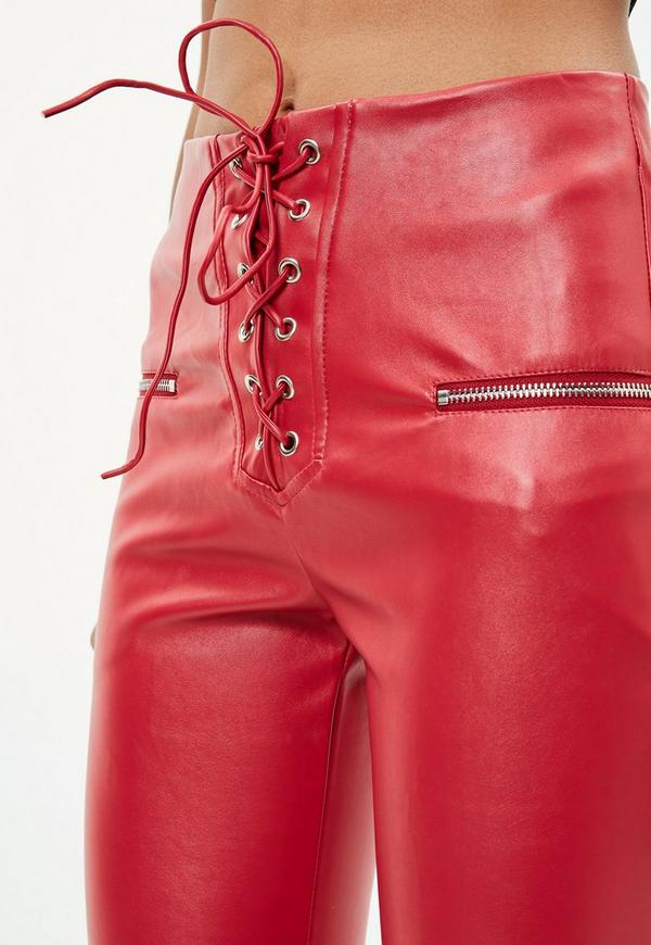Red Lace Up Faux Leather Pants Missguided