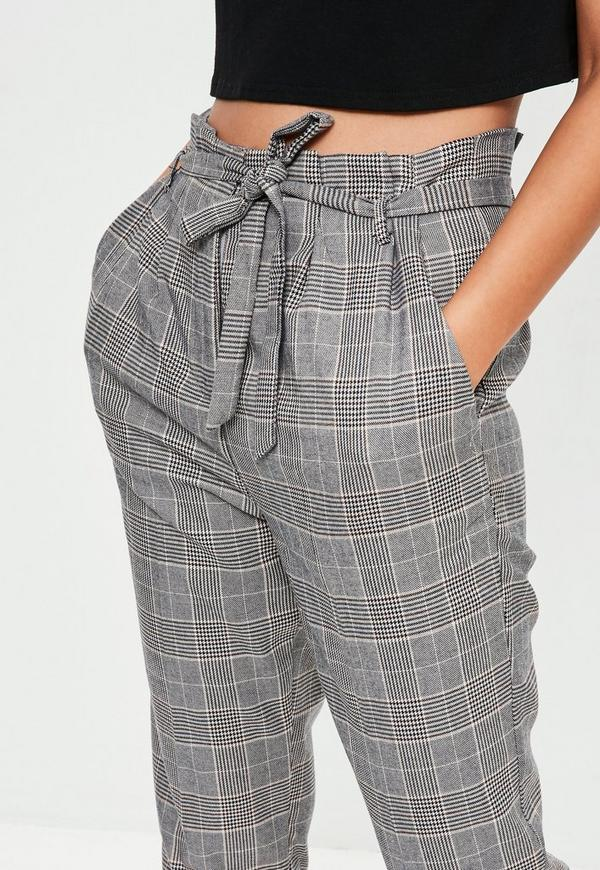 Grey Checked Paperbag Waist Trousers Missguided Ireland