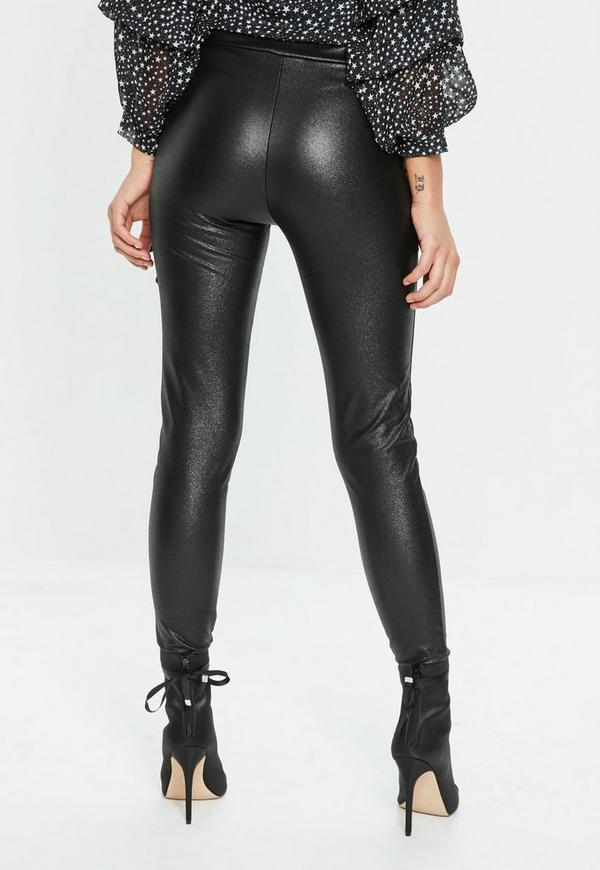 Black Faux Leather Leggings Missguided