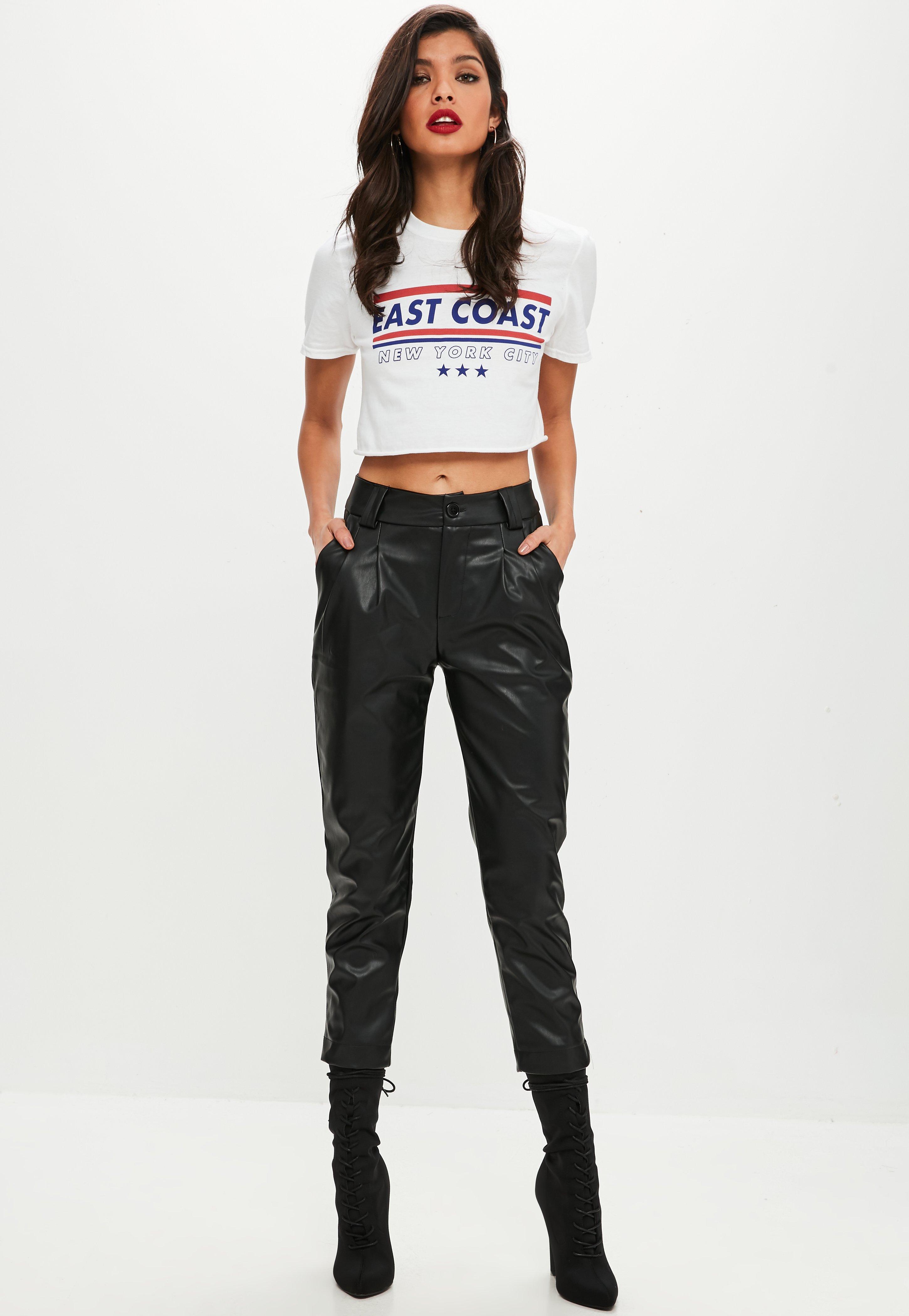 54c8e04337 Black Faux Leather Trousers