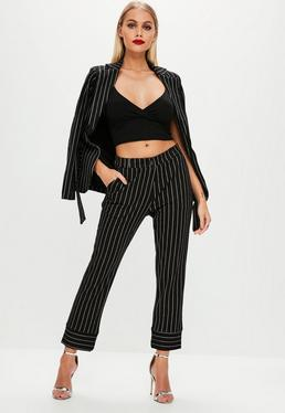 Black Pinstriped Tailored Trousers