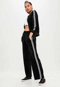 Black Velvet Side Stripes Trousers
