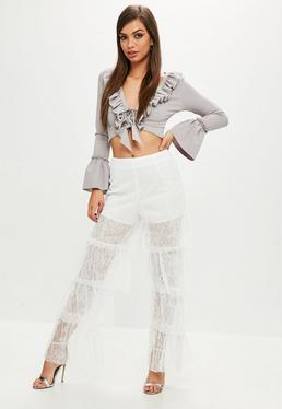 White Lace Tiered Frill Pants