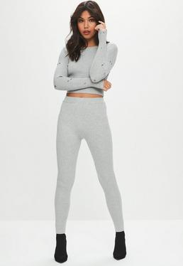 Gray Ribbed Knitted Leggings