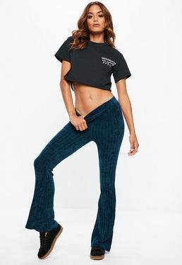 Granatowe szenilowe spodnie