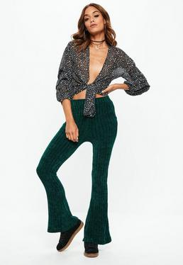Green Chenille Flare Leg Pants