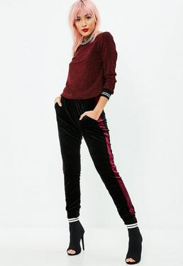 Black Side Stripe Velvet Pants