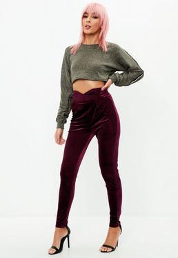 Purple Velvet High Waist Trousers