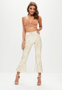 Gold Metallic Pleated Pants