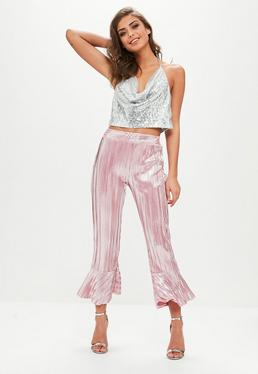 Różowe metaliczne plisowane spodnie