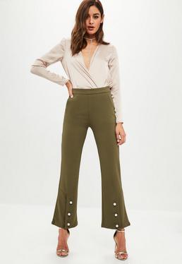Spodnie z perełkami w kolorze khaki