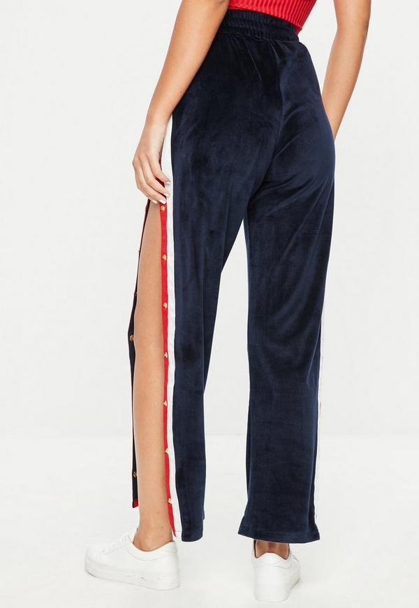 Navy Velvet Side Stripe Popper Wide Leg Trousers Missguided