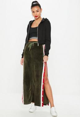 Khaki Velour Side Stripe Wide Leg Pants