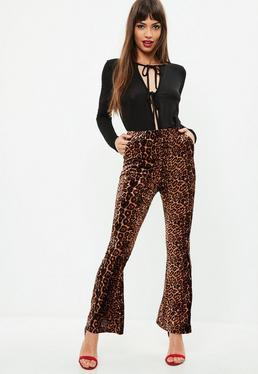 Brown Leopard Print Velvet Pants