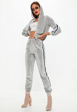Grey Velvet Striped Hood and Bottoms Set