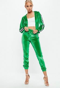 Green Velvet Striped Tracksuit Set
