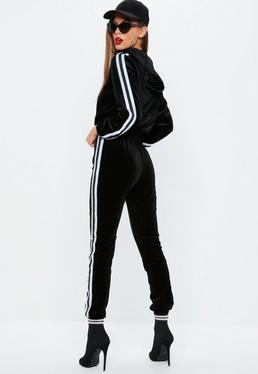 Black Velvet Side stripe Tracksuit Set