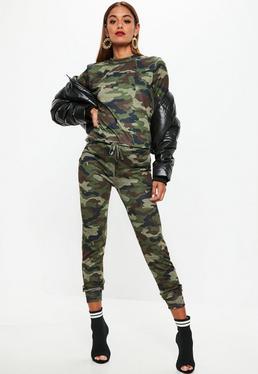 Komplet spodnie + top moro w kolorze khaki
