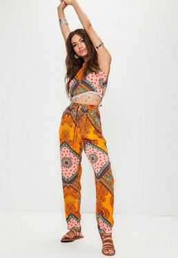 Yellow Paisley Printed Elasticated Trousers