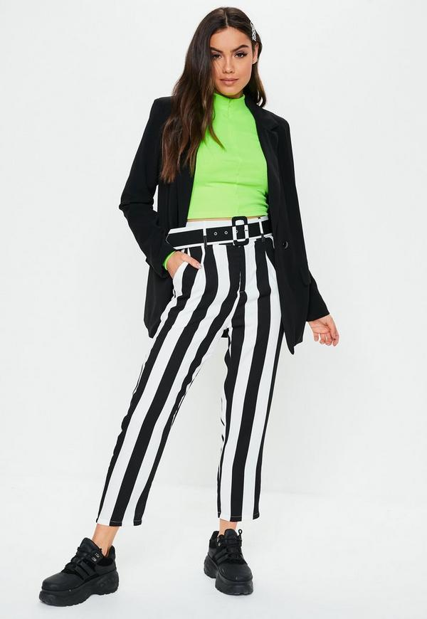Black Stripe Belted Cigarette Trousers by Missguided