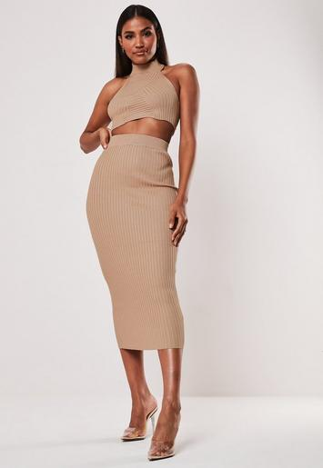 5009ee7111 Stone Ribbed Crop Top and Midi Skirt Co Ord Set   Missguided