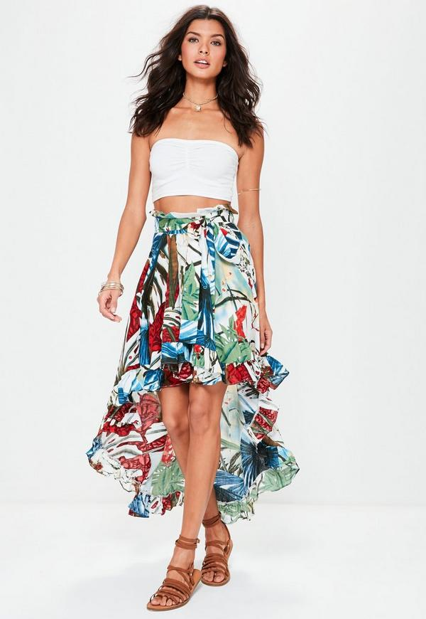 white dipped hem floral print maxi skirt missguided