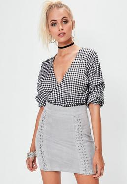 Grey Criss Cross Detail Faux Suede Mini Skirt