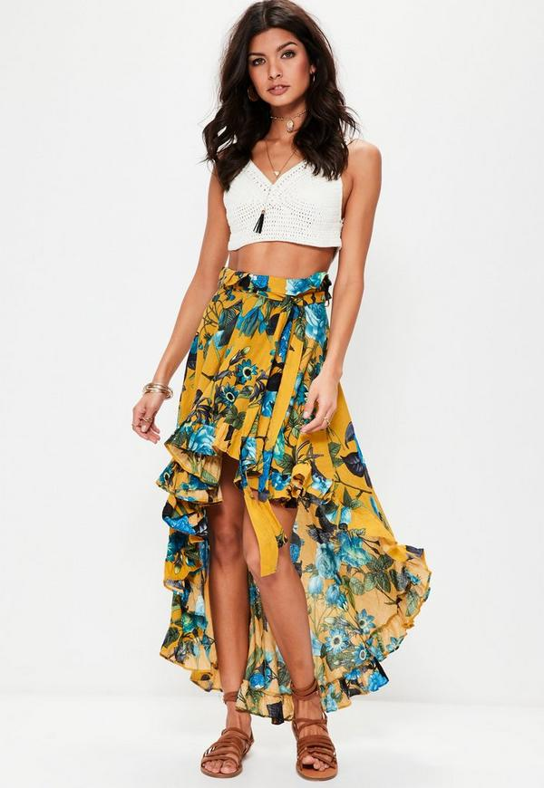 Yellow Dip Hem Frill Floral Maxi Skirt