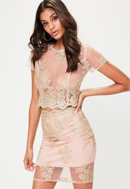 Nude Metallic Mesh Skirt