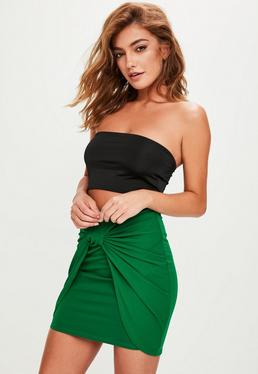 Green Twist Front Mini Skirt