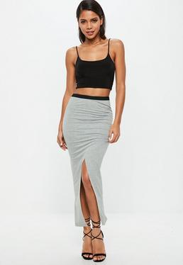 Grey Ruched Side Split Midi Skirt
