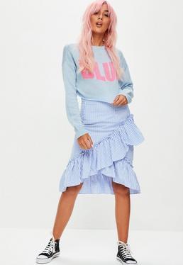 Blue Gingham Frill Side Midi Skirt