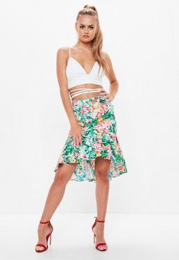 Green Floral Print Frill Hem Midi Skirt