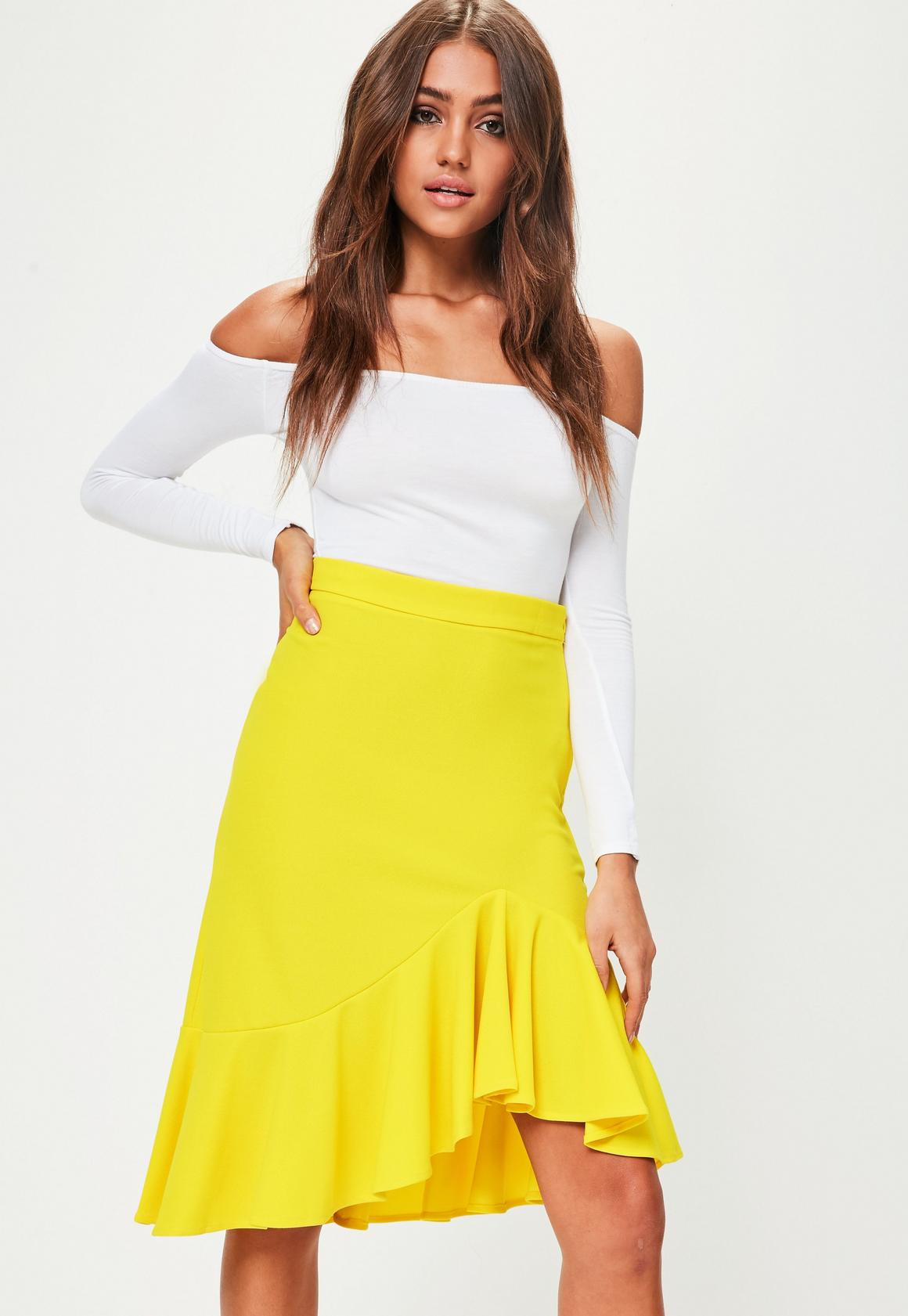 Yellow Frill Hem Midi Skirt | Missguided