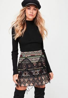 Black Fringe Tapestry Skirt