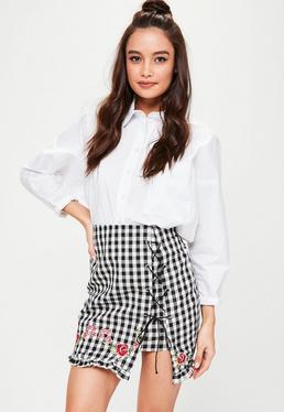 Black Gingham Floral Embroidered Mini Skirt