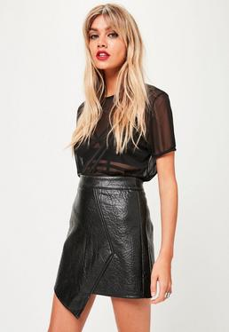 Black Wrap Front Faux Leather Skirt