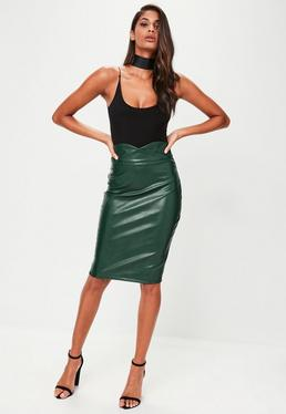 Green Faux Leather Pencil Midi Skirt