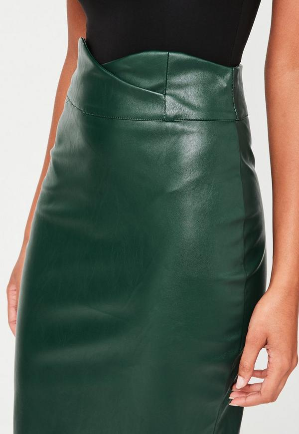 green faux leather pencil midi skirt missguided