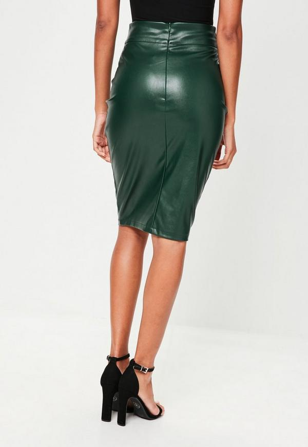 green faux leather pencil midi skirt missguided ireland